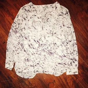 Sheer Marble Long Sleeved Blouse